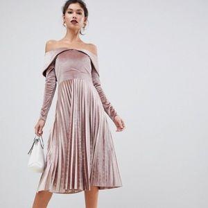 ASOS Design Pleated Velvet Pink Dress Size 6
